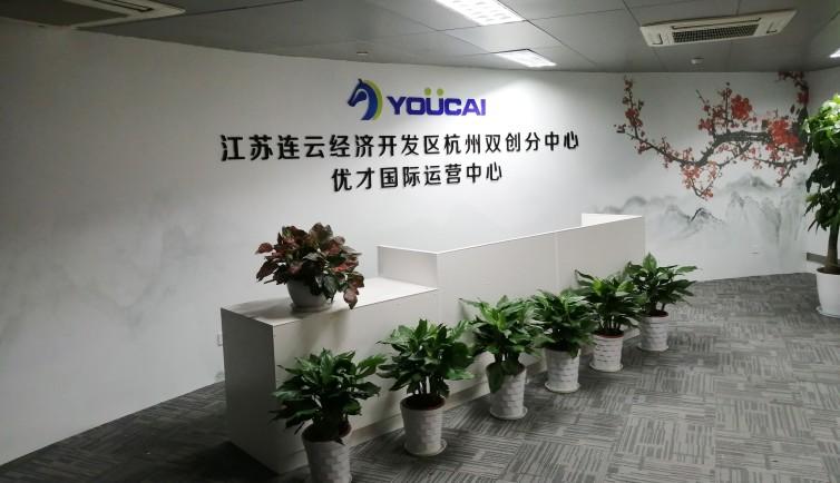 杭州优才国际运营中心前台背景墙设计制作